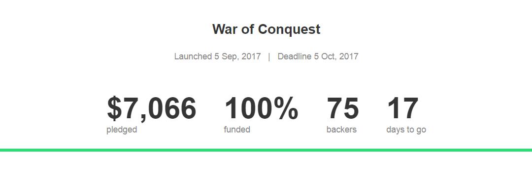 War of Conquest's Kickstarter Reaches Goal
